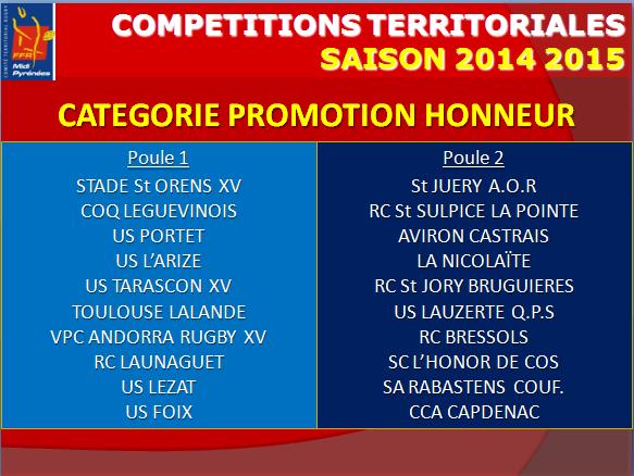 Poule Promotion Honneur 2014-15