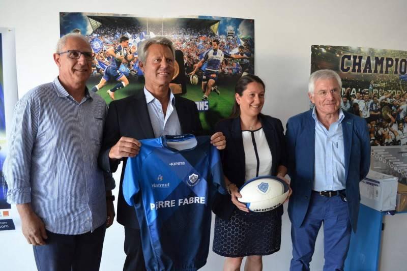 Michel Giacomini, Yves Salvaire, Virginie Berthoumieu et Guy Delbreil (adjoint au sport de la Ville de Castres)