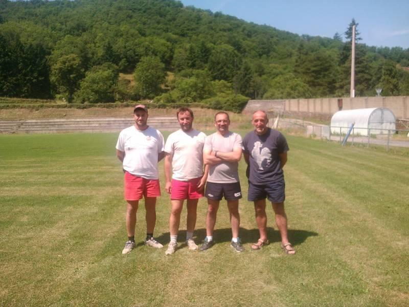 Elian Gomez, Olivier Castan et Philippe Arvieu avec Laurent Puech entrineur de u RCR pour laprochaine saison rougier