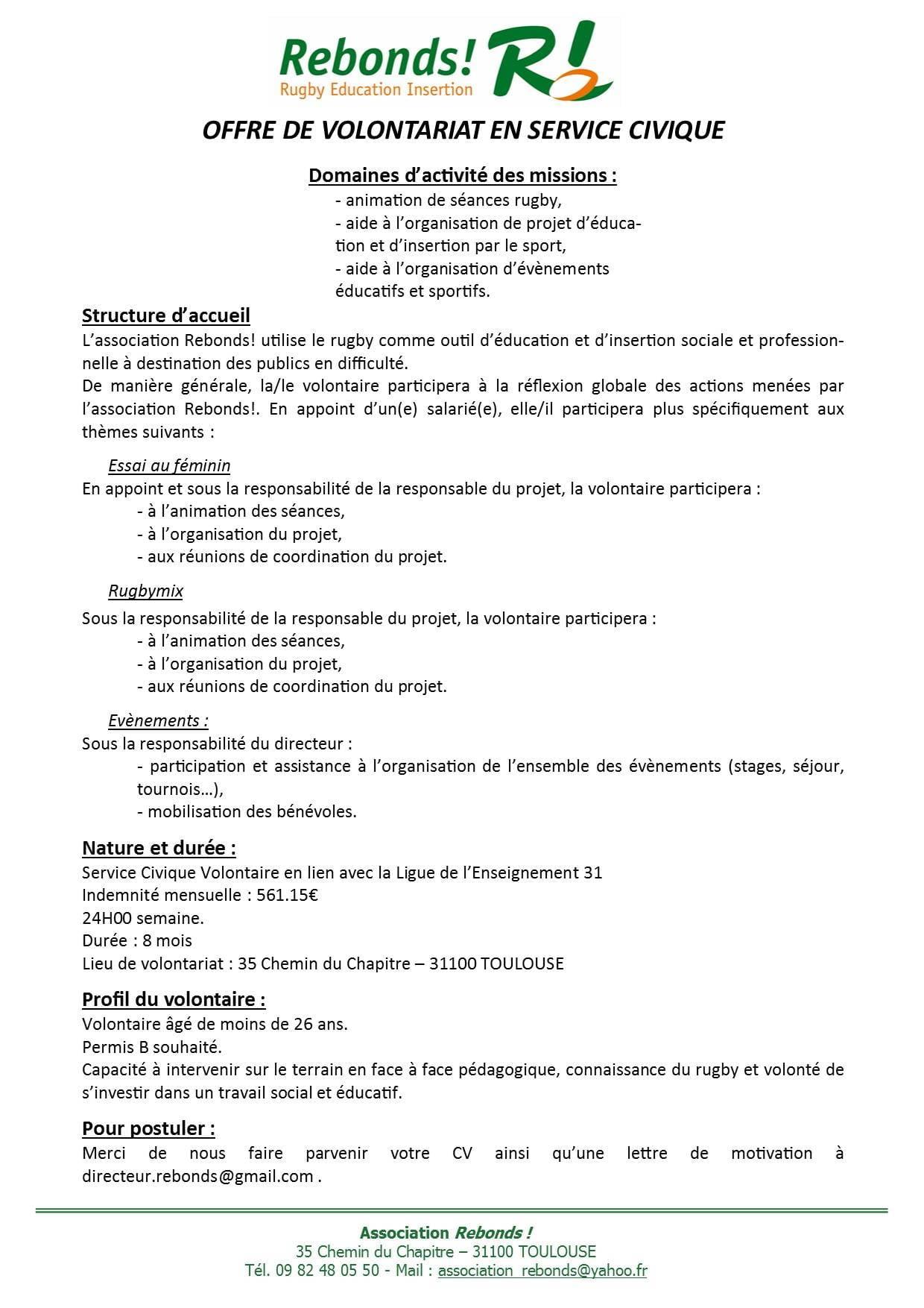service civique   l u0026 39 association rebonds recherche des