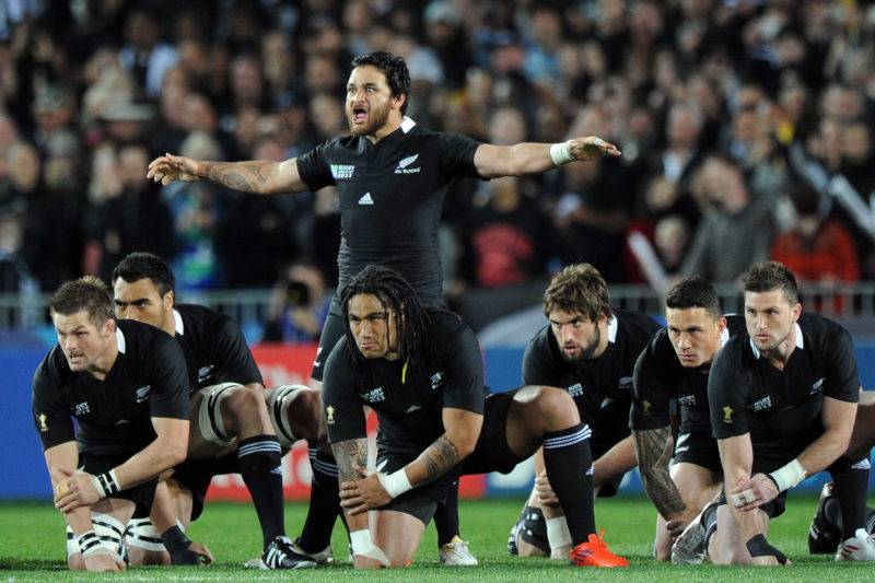 2011 Rugby World Cup Quarter-Final, Eden Park, Auckland, New Zealand 9/10/2011 New Zealand Piri Weepu leads the Haka before the match Mandatory Credit ©INPHO/Photosports/Andrew Cornaga