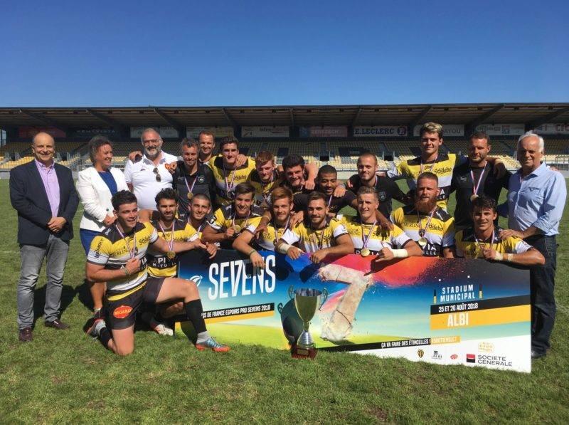 Le Stade Rochelais s'impose 21 à 15 face à l'US Montauban en finale du Championnat de France Espoirs Pro Sevens. #soutiensle7