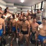 La joie des joueurs d'Aubenas après leur magnifique victoire à Narbonne 15 22