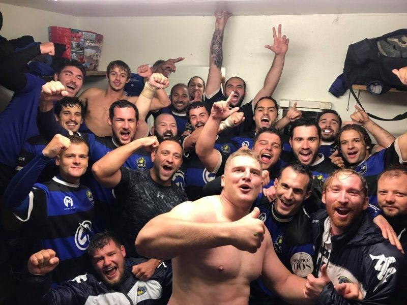 Selfies victoire des deux équipes de Sarlat qui gagne contre Causse Vezere en Fédéral 2