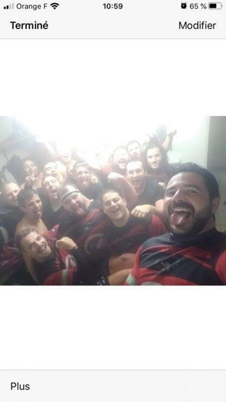 Selfies victoire des deux équipes de Sarlat qui gagne contre Causse Vezere en Fédéral 2...