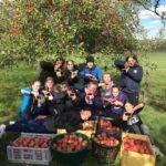 selfie les cadettes de Nancy seichamps ont fait une opération ramassage de pommes bio pour faire du jus et financer un voyage de fin d'année