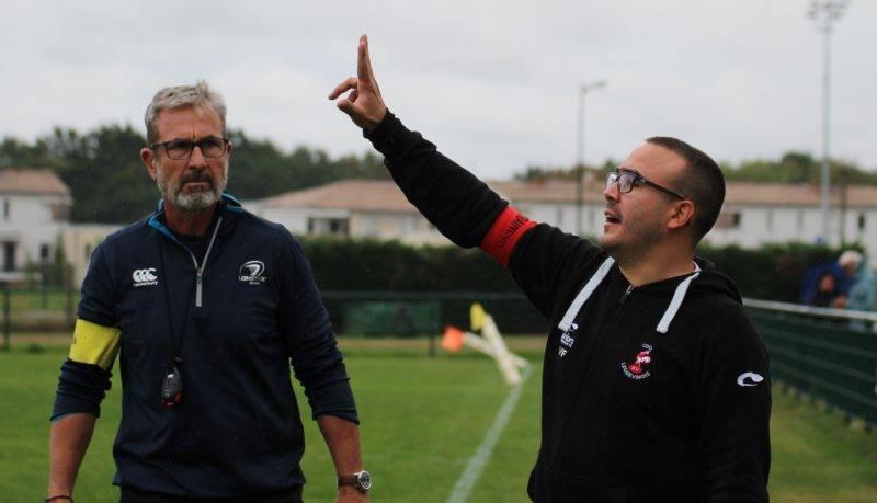 """Jean-Michel Gausseran (brassard jaune) et Fabrice Vergé ne seront plus aux commandes de la """"une"""" du Coq la saison prochaine (Photo Sabine Roux)."""