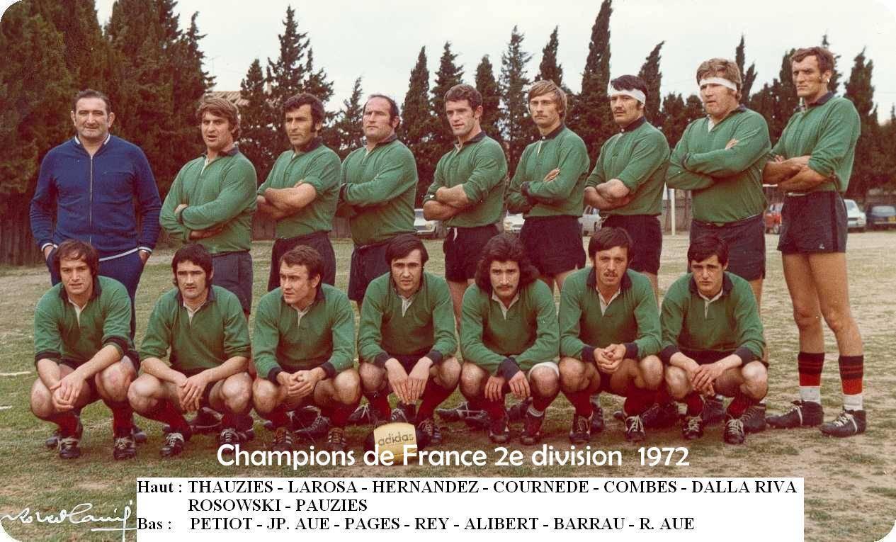 L'équipe championne en 1972, contre Nice à Perpignan, 22 à 16