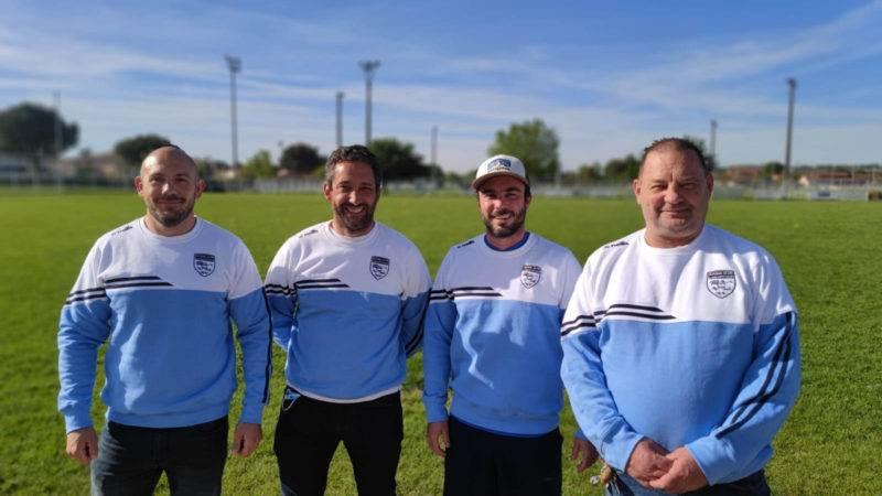 Cyril Fédou entraineur avant, Rémy Battesti Président, Elie Tourtoulou Entraineur trois quarts et Jean Marc Lacourt Président