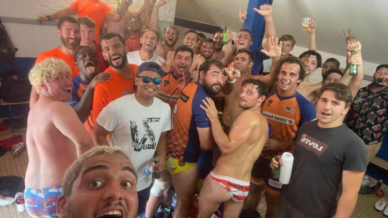 Petit selfie de victoire de l'équipe B de Lormont avec le bonus offensif