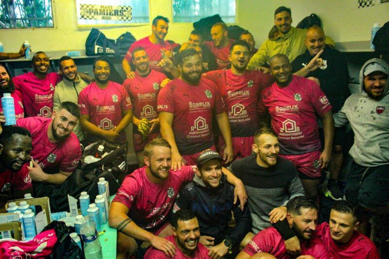 Les Appaméens tout sourire après leur victoire Page Facebook Pamiers Rugby