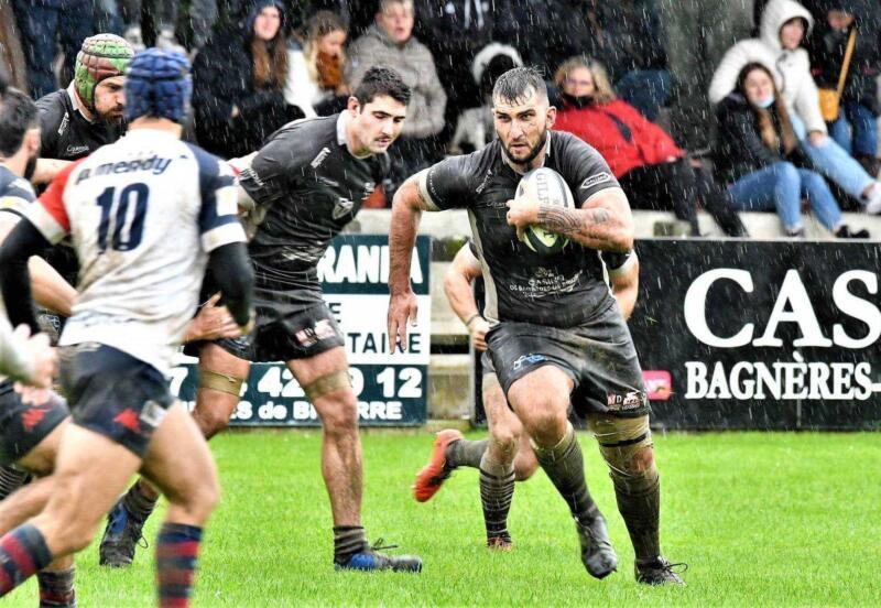 Les Blacks de Bigorre se sont imposés face à Tyrosse sous une météo dantesque et des Landais batailleurs Photo page Facebook Stade Bagnérais Rugby