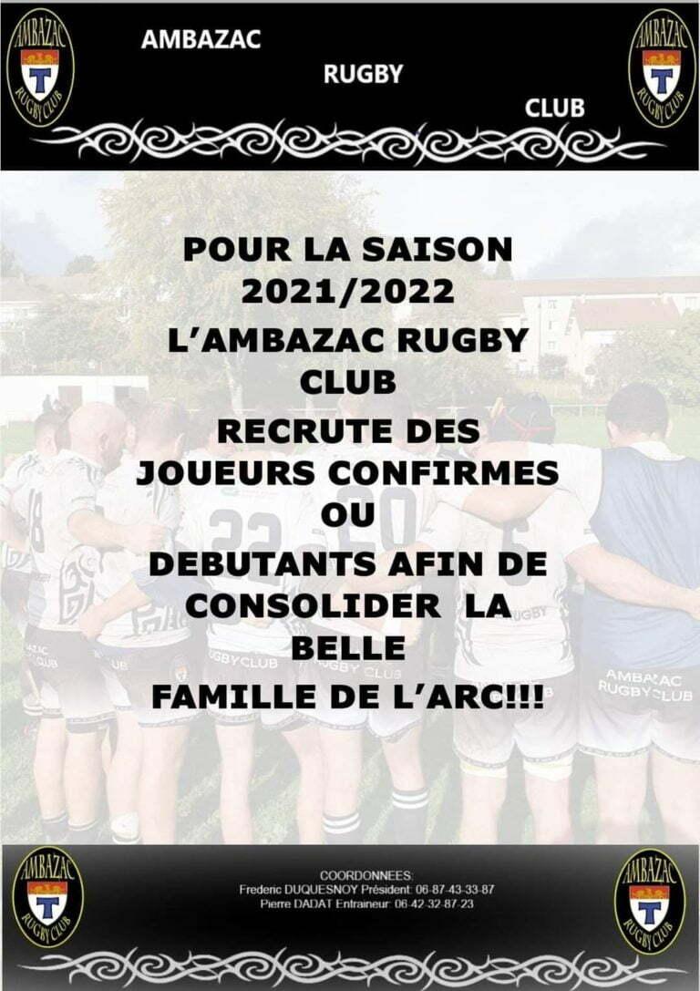 L'Ambazac RC (Haute-Vienne) recrute !
