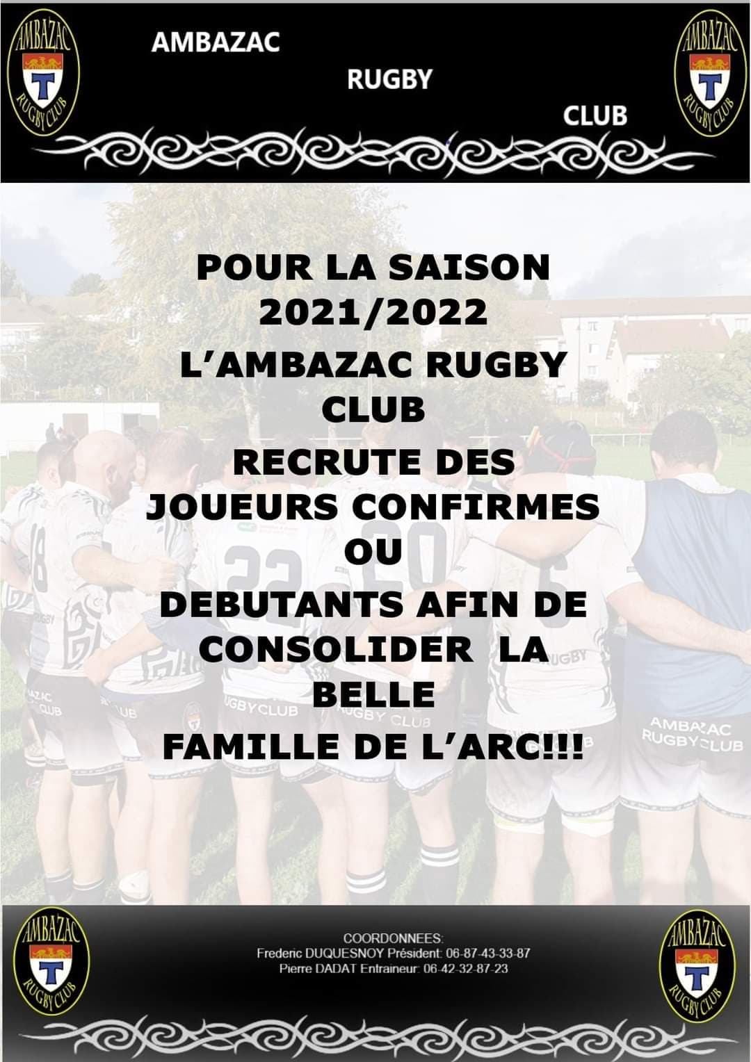 L'Ambazac RC (Haute Vienne) recrute !